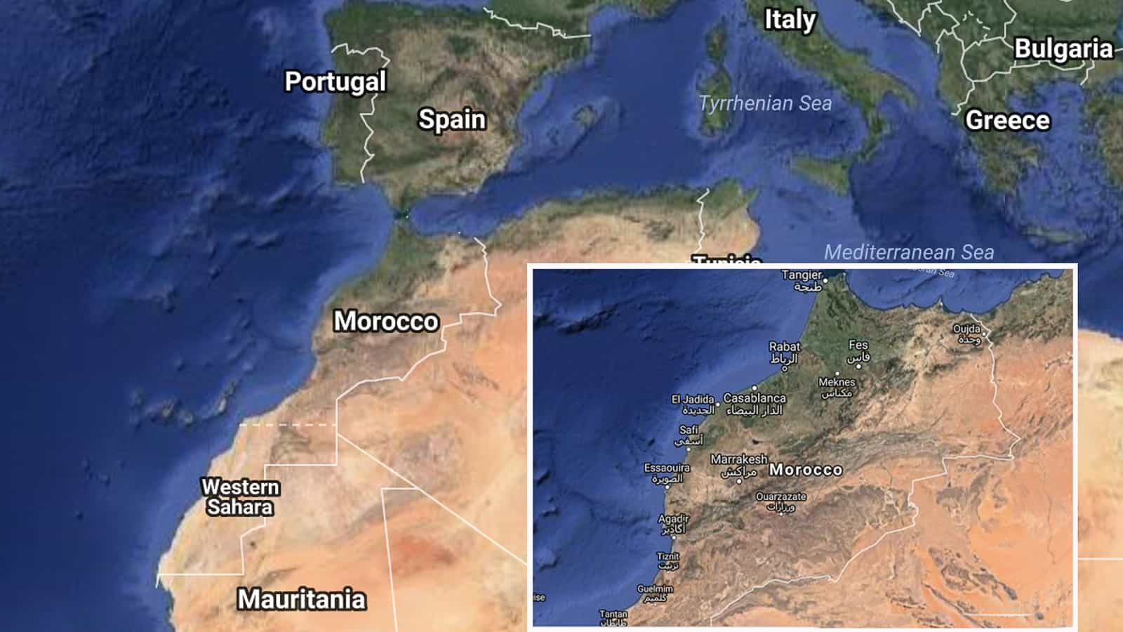 Campervan travel in Morocco - map of Morocco