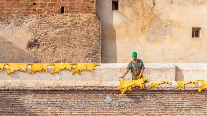 Visiting the leather tanneries of Fes in Morocco
