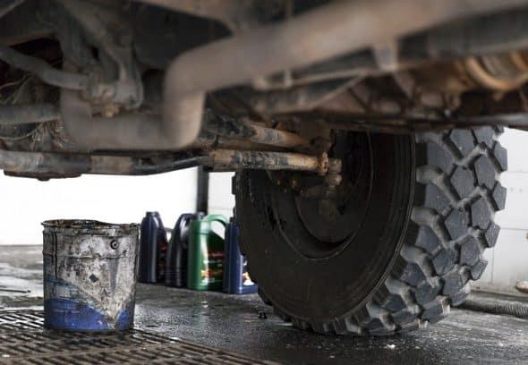 Unimog oil change in Morocco