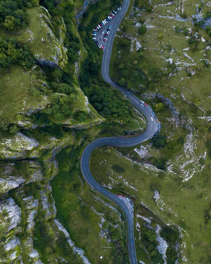 cheddar gorge aerial view