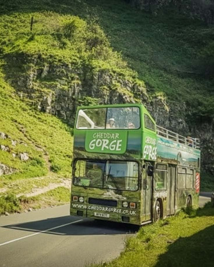 cheddar gorge open top bus