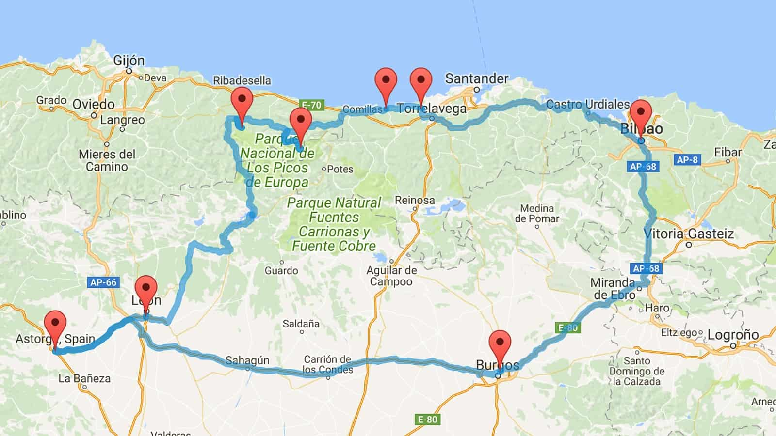 Northern spain road trip itinerary route and map