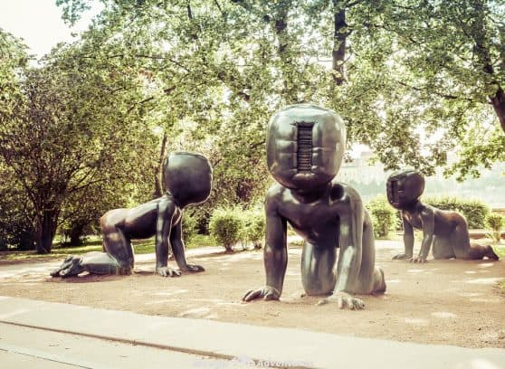 Prague has loads of sculptures by David Cerny dotted around and if you know where to look, and keep an eye out, you'll not miss them.