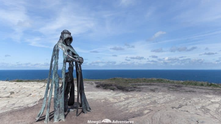 Statue of King Arthur on the Cornish cliffs of Tintagel