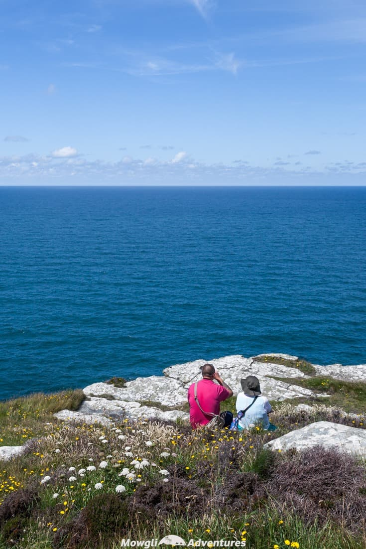 A couple enjoying a picnic on Tintagel Island looking out to sea