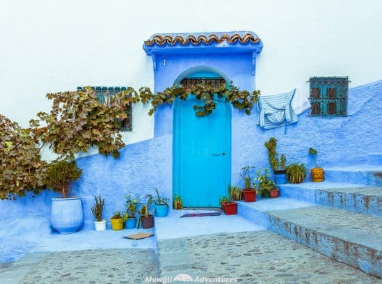 Exploring the magic of Chefchaouen, Morocco's blue city. The residents of Chefchaouen have painted everything blue and white. The buildings, the pavements, the steps and the doors are all painted in a multitude of shades of blue. #Travel #Morocco #Chefchaouen #TravelGuide Click this link for the full article //mowgli-adventures.com/chefchaouen-morocco-blue-city/