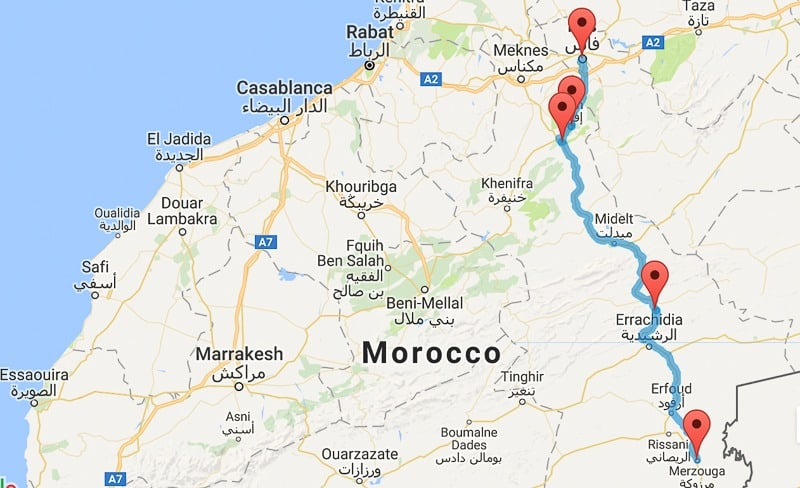 How to get to the Sahara Desert in Morocco from Fes map | Mowgli ...