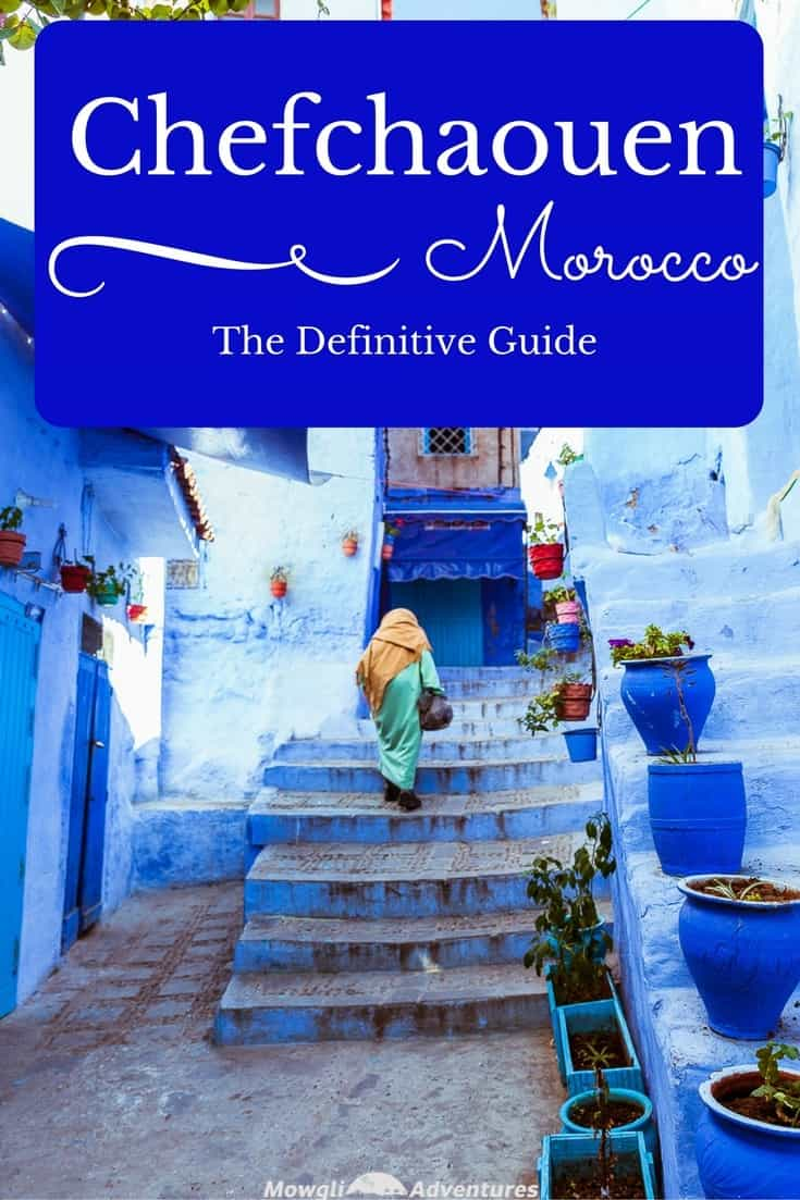 Exploring the magic of Chefchaouen, Morocco's blue city. The residents of Chefchaouen have painted everything blue and white. The buildings, the pavements, the steps and the doors are all painted in a multitude of shades of blue. #Travel #Morocco #Chefchaouen #TravelGuide Click this link for the full article http://mowgli-adventures.com/chefchaouen-morocco-blue-city/