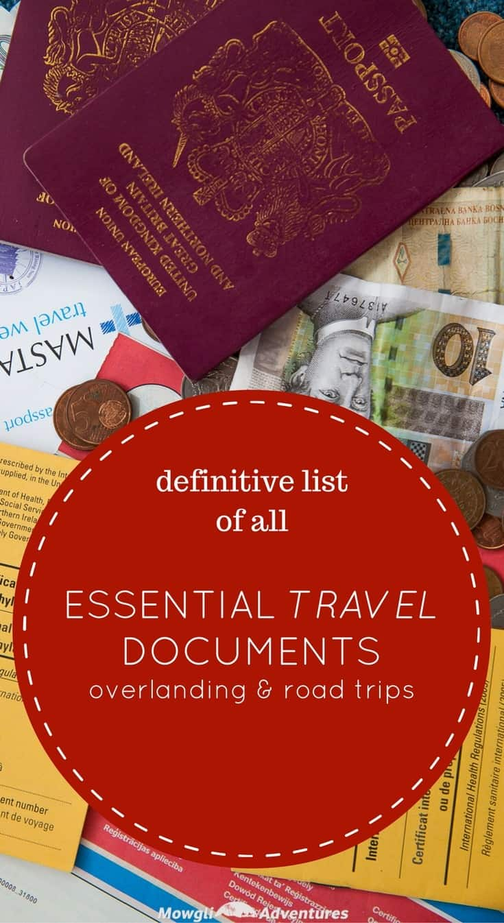So long as you have these essential travel documents for overlanding, you can pretty much sort any situation you find yourself in. #Packing #EssentialTravelDocuments Read the full article here: http://mowgli-adventures.com/essential-travel-documents-for-overlanding/