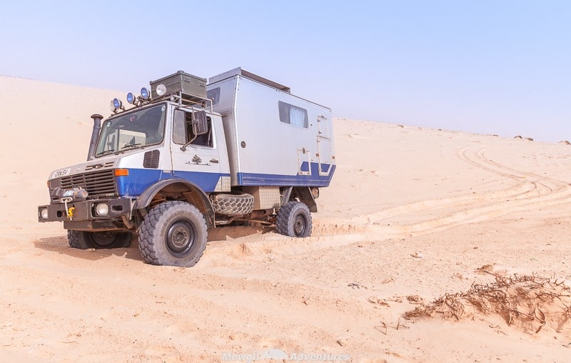 A unimog stuck in beach sand