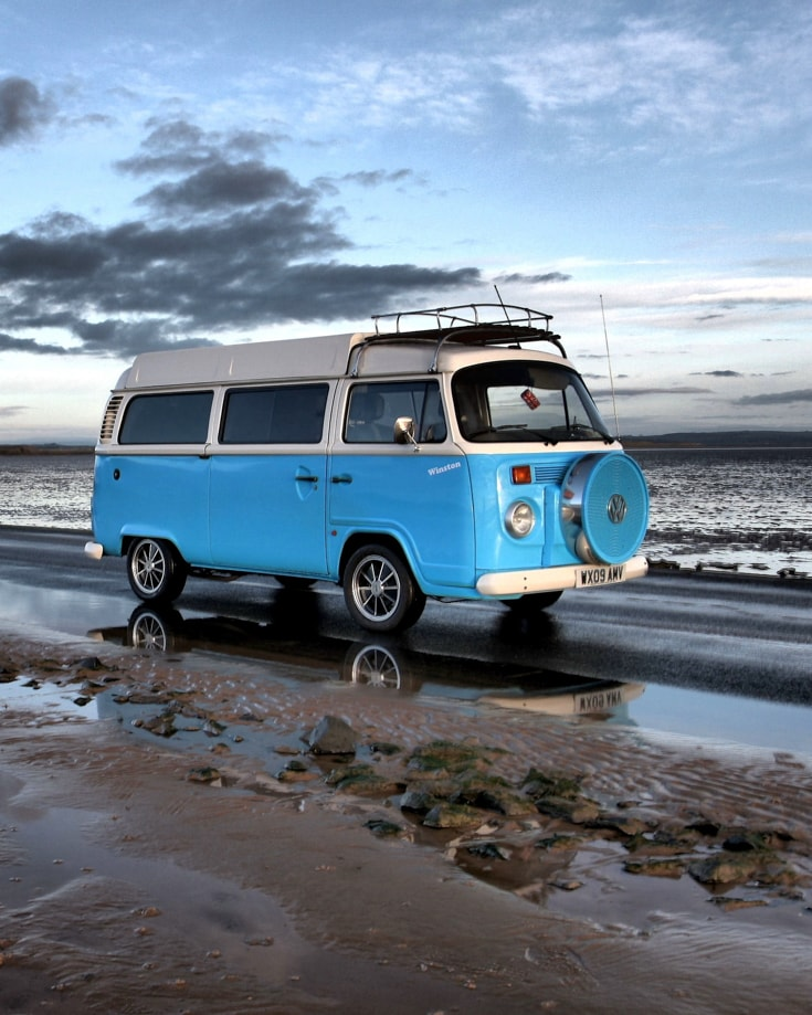 camper van insurance is important to protect investements like thi s blue blue VW campervan