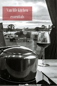 Here's a list of our van life kitchen essentials we can't (or won't) travel without. Becoming a minimalist doesn't mean doing without. #Travel #Campervan #VanLife Read the full article here: //mowgli-adventures.com/van-life-kitchen-essentials/
