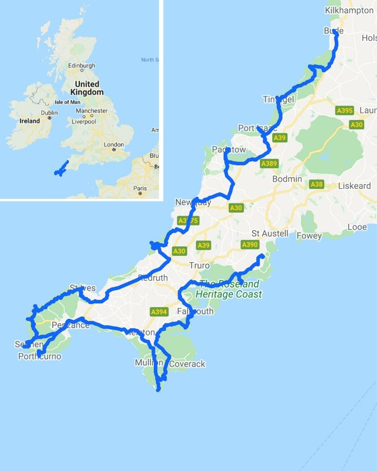 A map of Cornwall road trip route