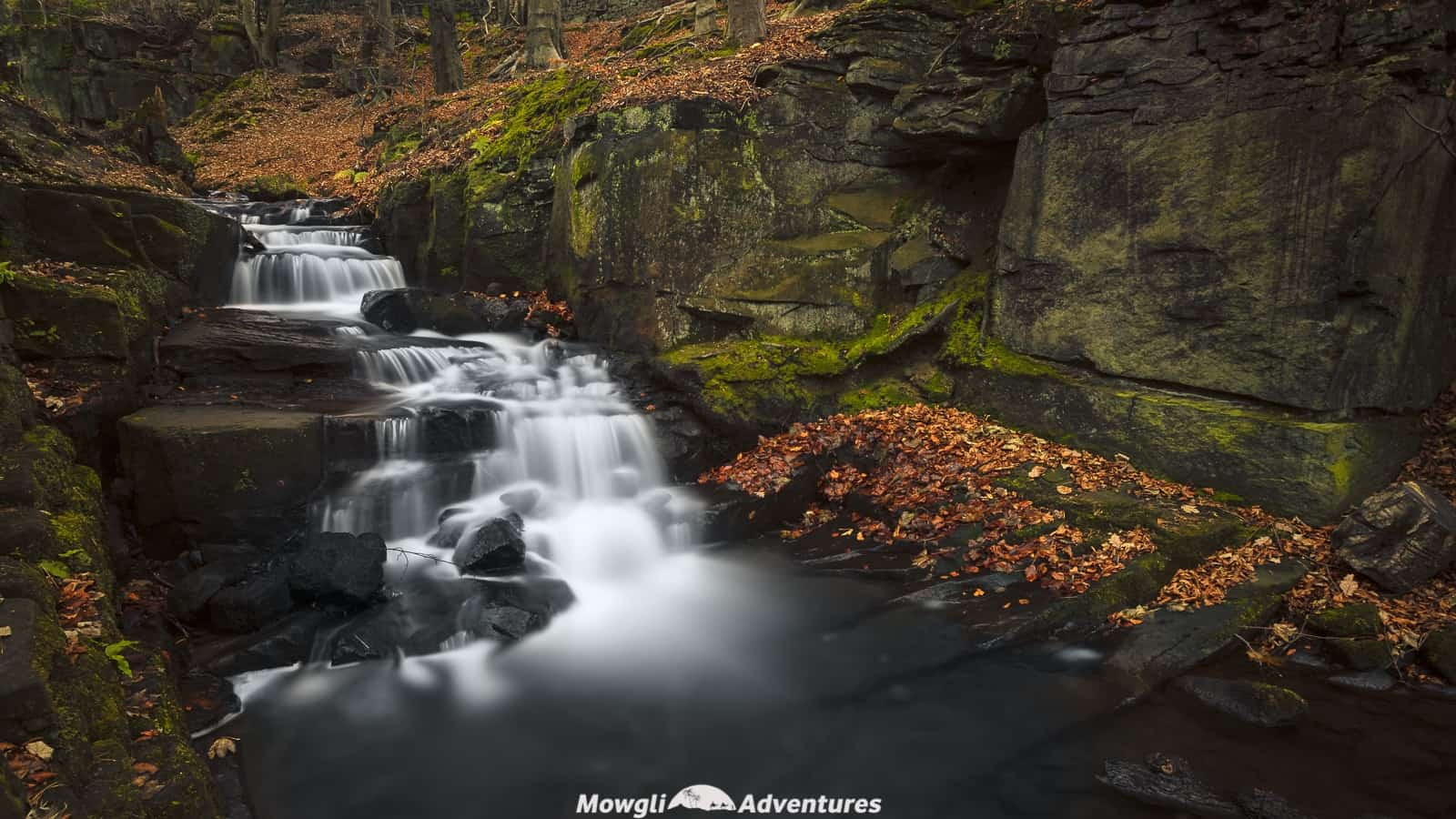 Long exposure photo of cascading waterfalls in Derbyshire Peak District