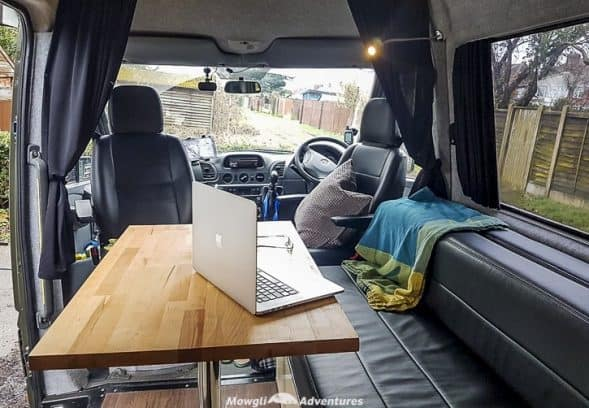 Mowgli Adventures 4x4 sprinter van conversion tour - Baloo the 4x4 Mercedes Sprinter camper van lounge