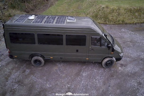 Mowgli Adventures 4x4 sprinter van conversion tour - Baloo the 4x4 Mercedes Sprinter camper van solar panels