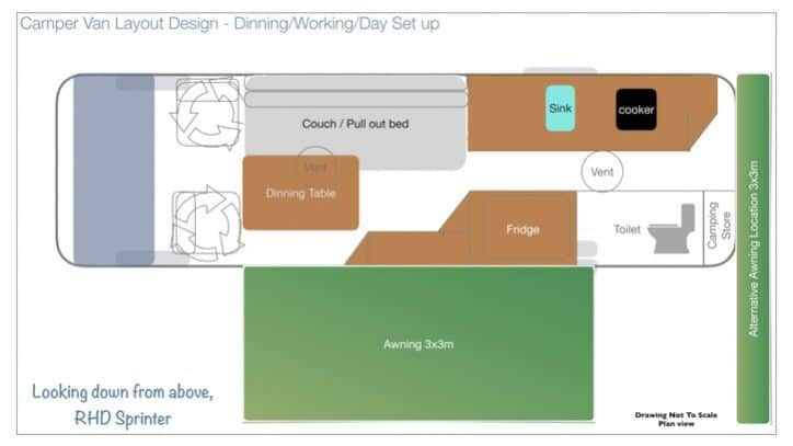 Take a look at our camper van layout design with detailed plans, materials used and some advantages and disadvantages of our design to help inform you on your final camper van layout design.