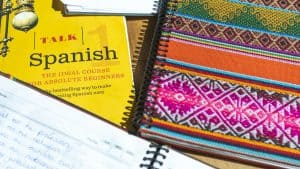 Learning Spanish in Sucre Bolivia study books