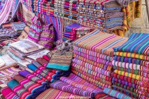 Tarabuco Sunday market - colourful textiles