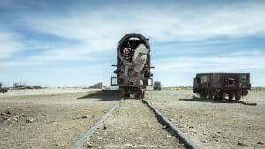 Uyuni train cemetery lies at 3700 metres above sea level just outside of Uyuni. Don't miss it if you're planning to visit the salt flats.