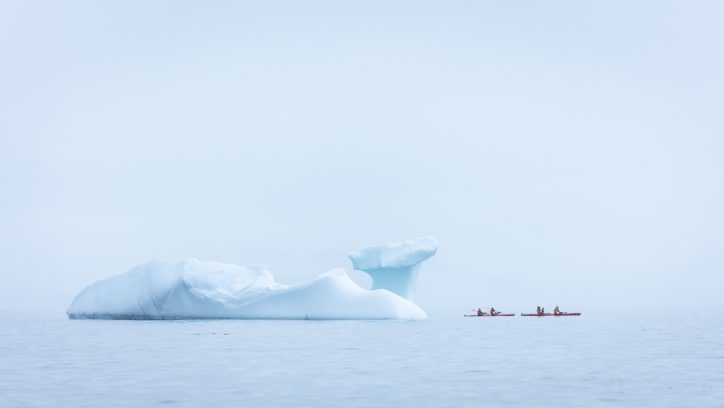 Antarctica on an expedition cruise - sea kayaking