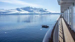 Antarctica on an expedition cruise - ship deck