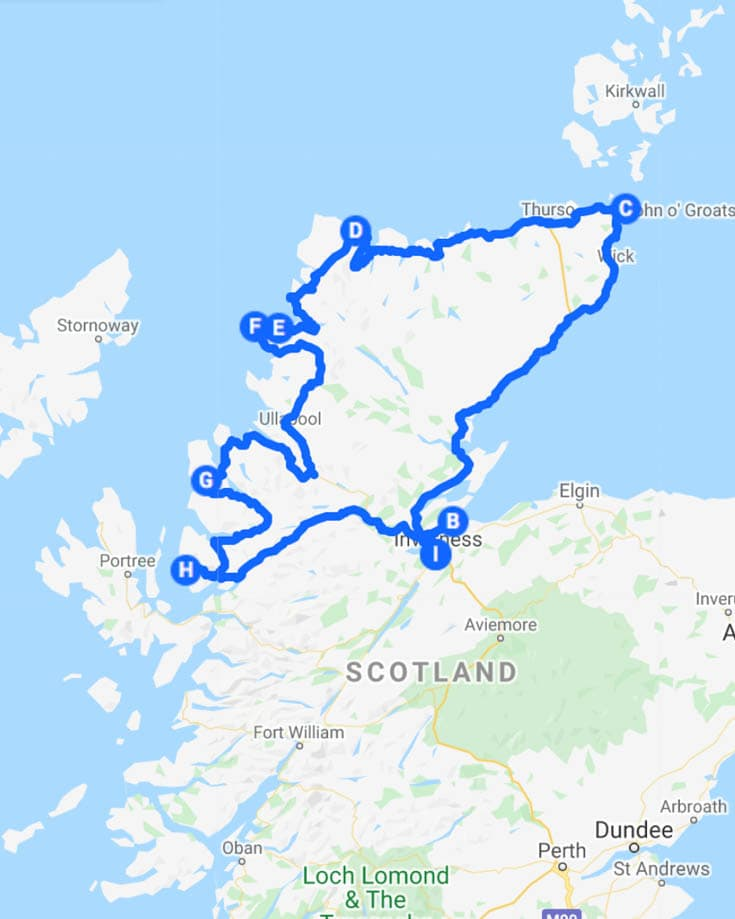 A map of the NC500 driving route int he Scottish Highlands
