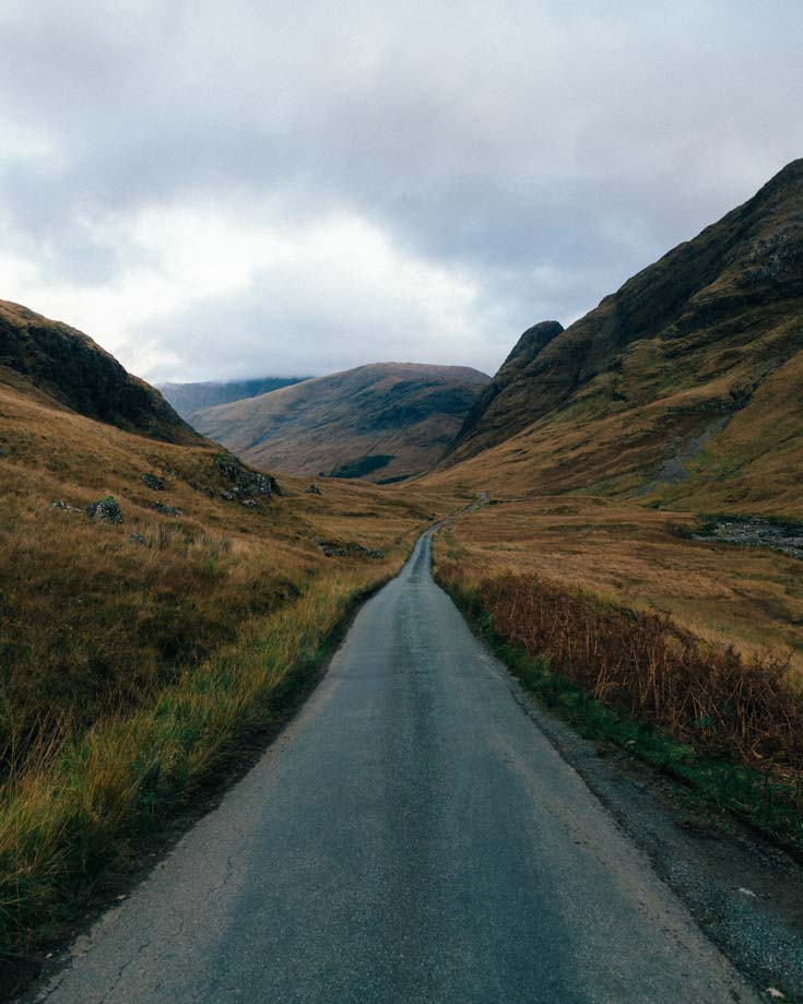 Narrow lanes on the NC500 in Scotland