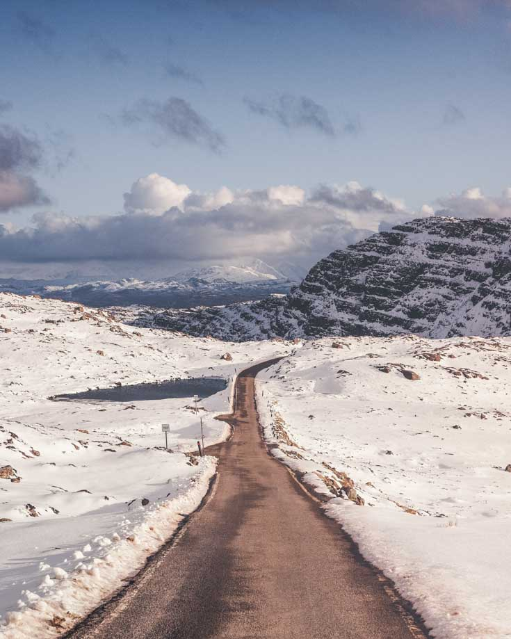 Winter roads covered in snow in Scotland