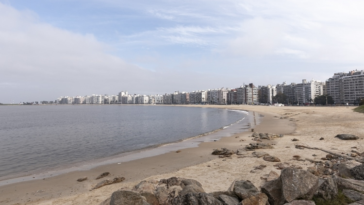 The sweeping sands of Playa Pocitos beach Montevideo Uruguay