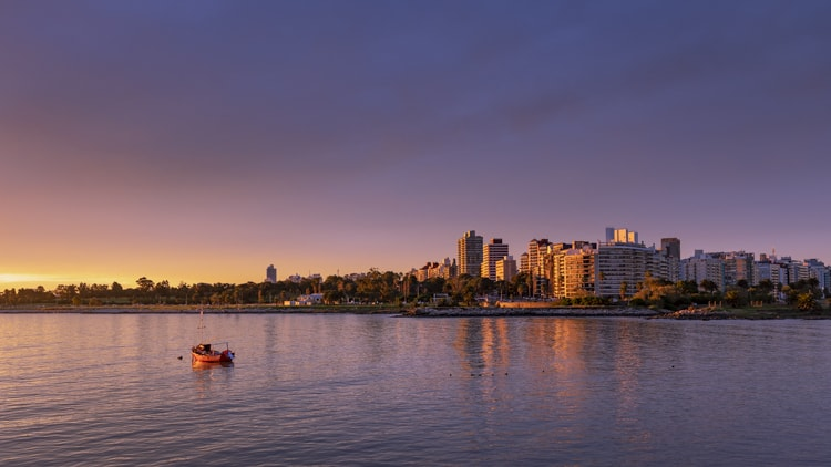 Sunset from Playa Ramirez beach Montevideo Uruguay