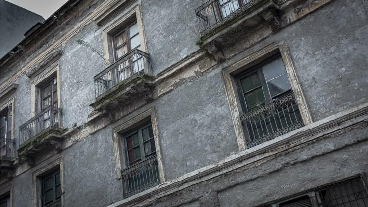 Windows in old buildings in Ciudad Vieja Montevideo Uruguay