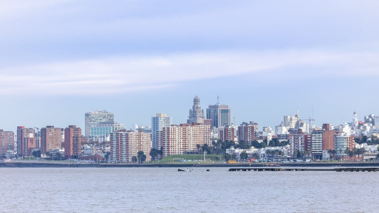 Views of the Montevideo skyline from La Rambla