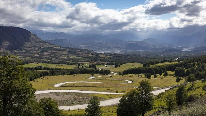 Long winding road towards Villa Cerro Castillo Chile