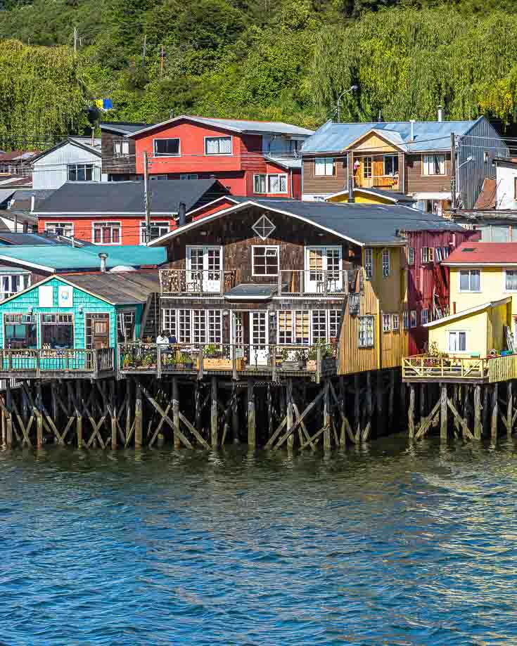 Chiloe palafitos - colorful wooden houses on stilts