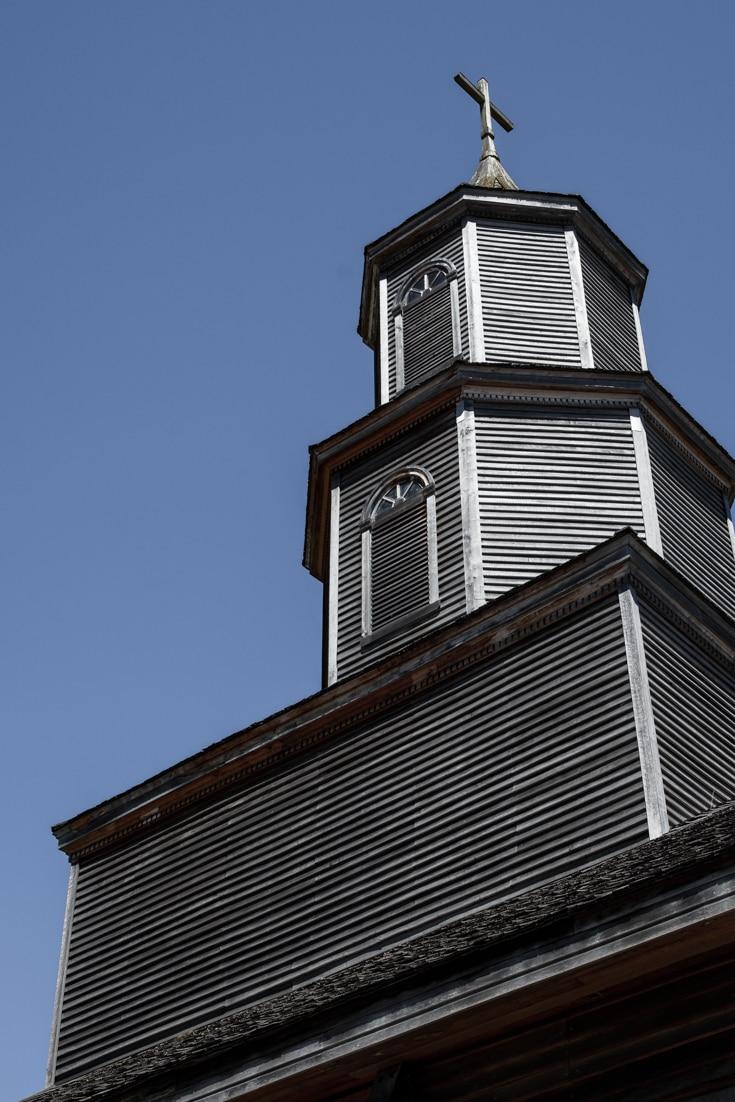 Church spire in Chiloe Island