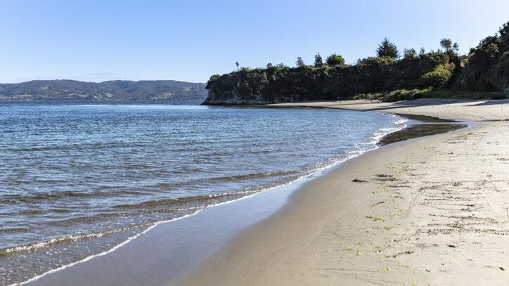 Deserted remote beach on Chiloe Island
