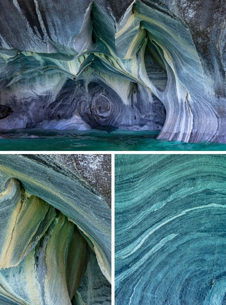Detail inside the marble caves