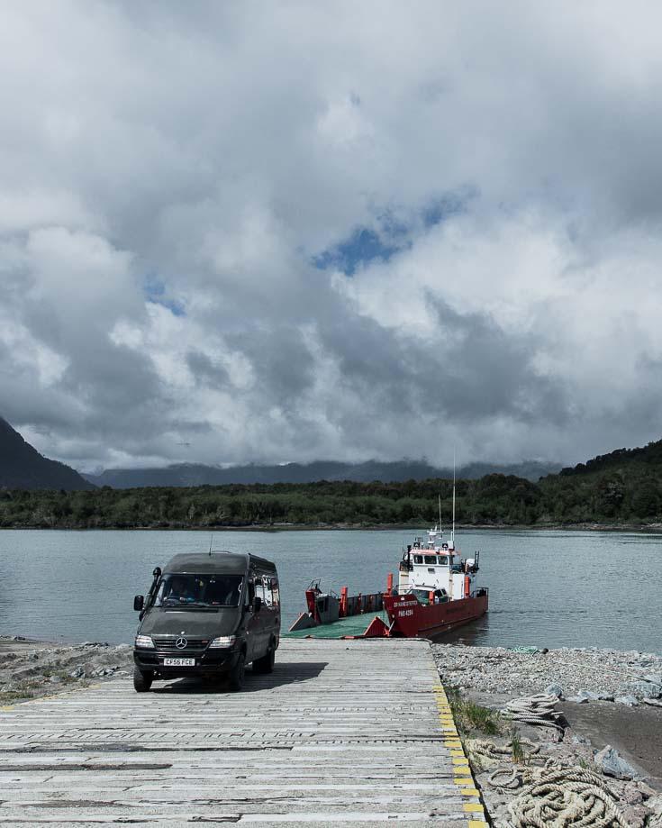 Disembarking from the free ferry at Raúl Marin Balmaceda