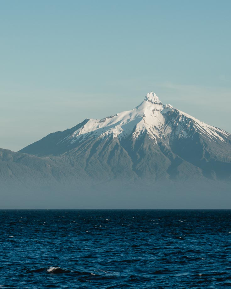 Views of Patagonian volcanoes from Chiloe Island