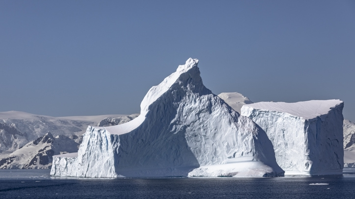 huge icebergs on a trip to Antarctica