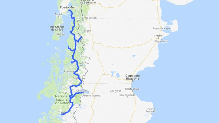 Map of Carretera Austral route