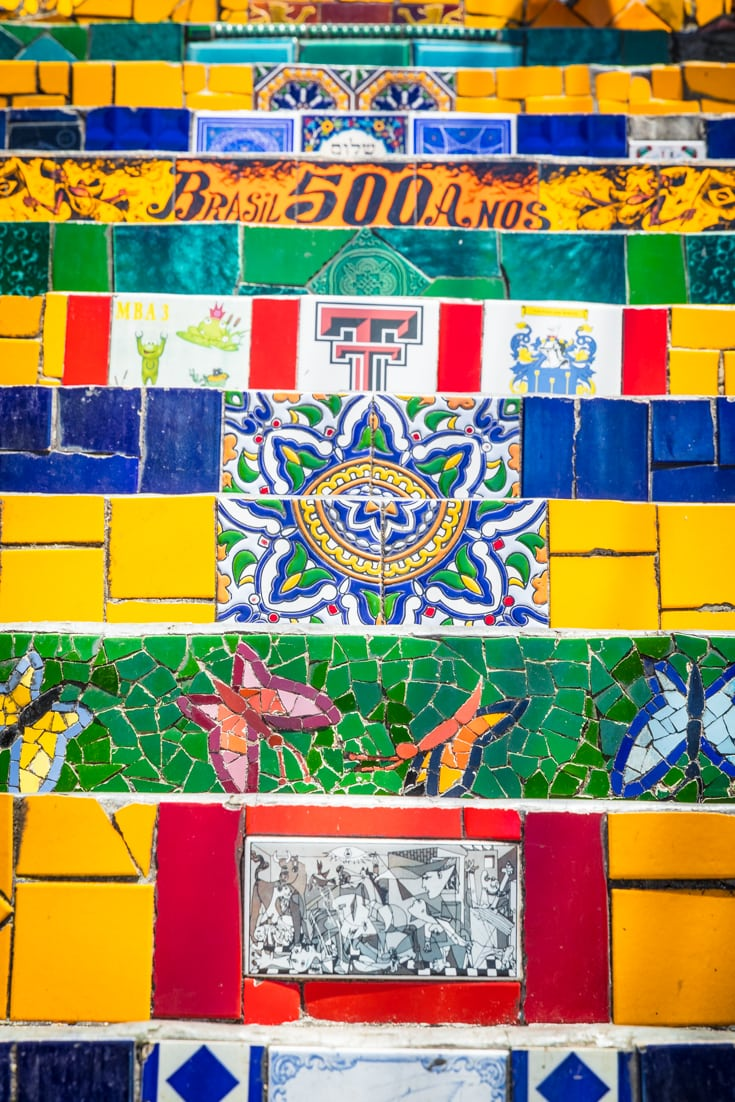 Detailed tiles on Escadaria Selaron or Selaron Steps of Rio de Janeiro