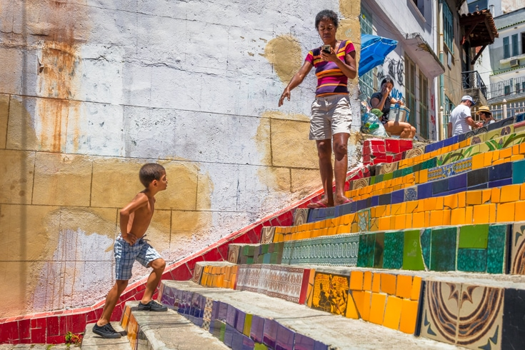 Escadaria Selaron or Selaron Steps of Rio de Janeiro street life