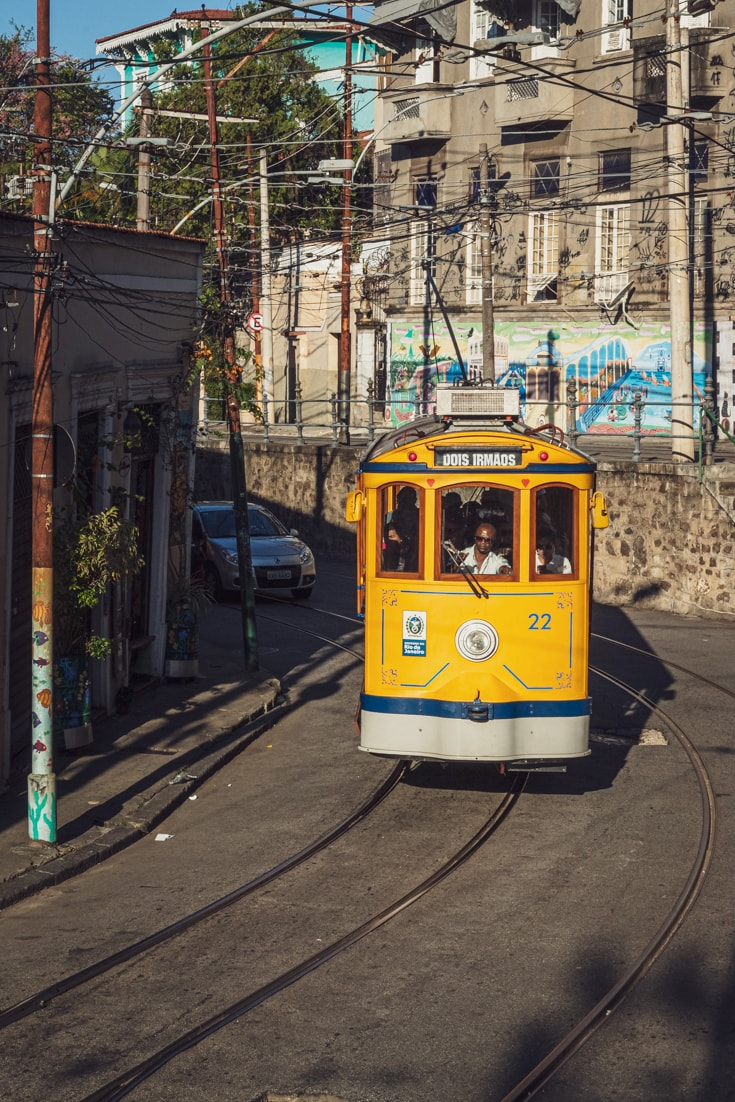 Rio de Janeiro travel advice - the historic yellow Bonde tram is a great way to climb Rio's hills