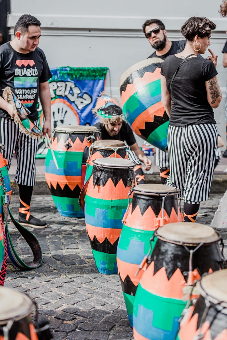 A group of Candombe drummers preparing to march