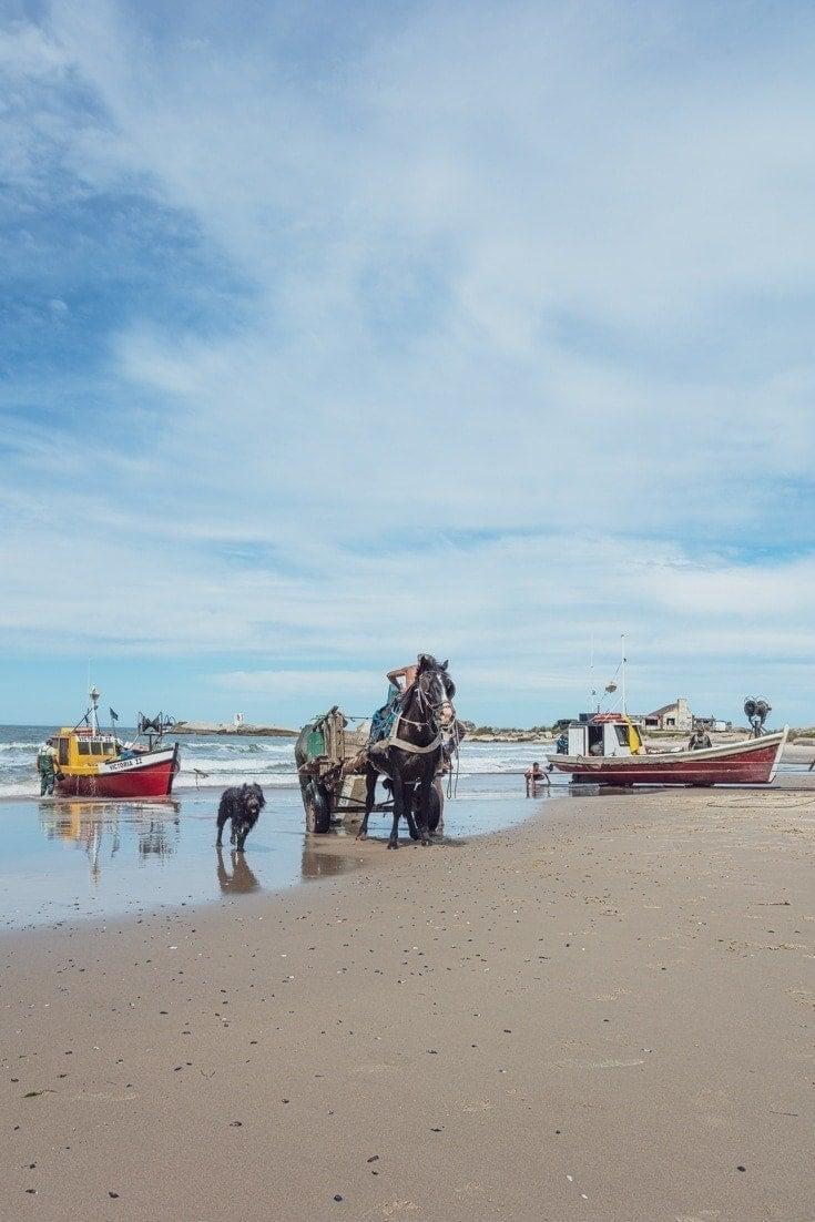 fishermen retun to the beaches at Playa de lo pescadores