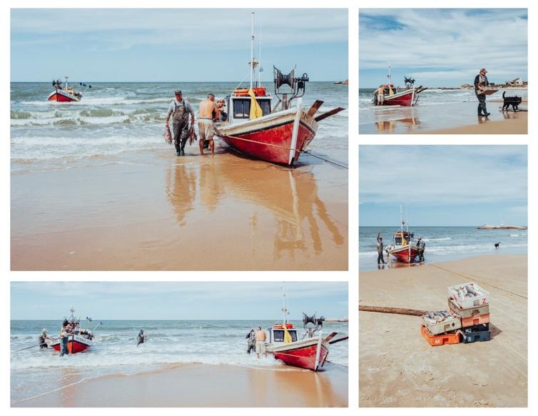 fishing boats arriving on Play de los Pescadores in Punta del Diablo