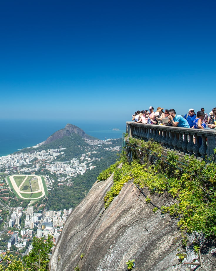 People looking out over Rio de Janeiro from the foot of Christ the Redeemer statue