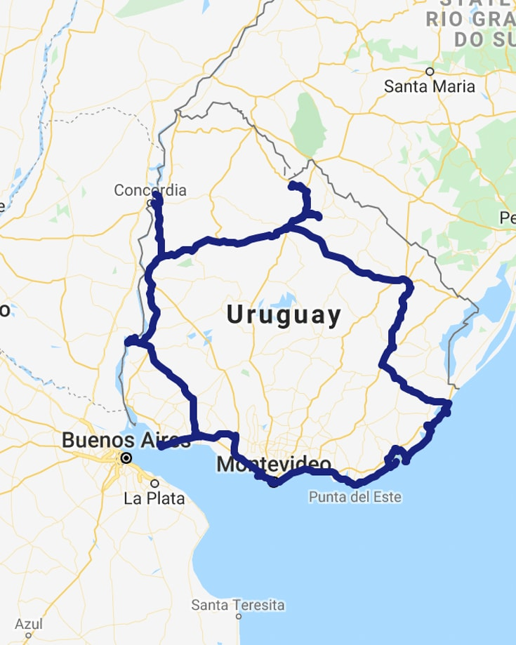 A map of Uruguay showing our overland travel itinerary and route in blue.